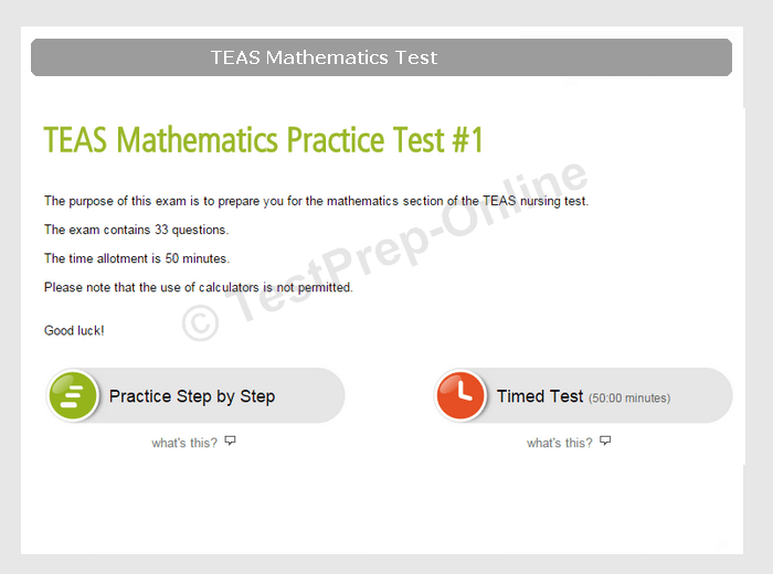 2019 TEAS Math Practice Tests & Information - TestPrep-Online