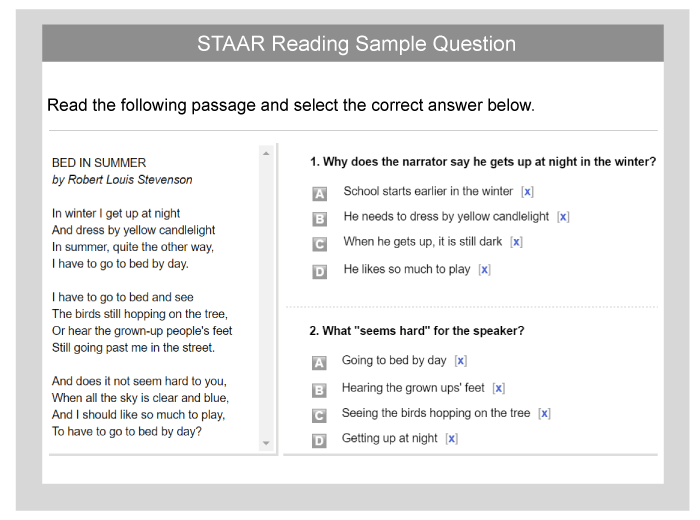 picture regarding 3rd Grade Reading Assessment Test Printable identified as STAAR: Pattern Educate Issues Check out Recommendations - TestPrep