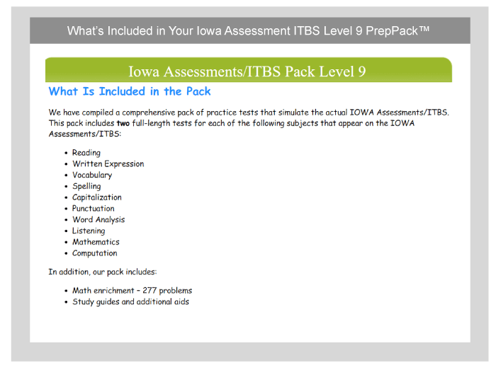 Iowa Assessments (ITBS): Free Sample Qs 2019 - TestPrep-Online