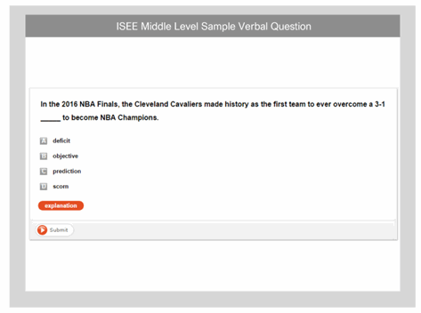 ISEE Verbal Sample Question